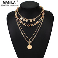 c89f9b24b57f MANILAI multicapa cadena collares para mujeres indio Vintage de aleación  colgante de moneda collar de Color