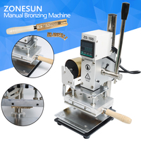 ZONESUN New Embossing Manual Leather Paper Wood Machine With Measure Line Letters Hot Foil Stamping Machine