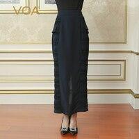 VOA тяжелый шелк Юбки карандаши Высокая Талия Для женщин Длинная юбка макси Простой Глубокий голубой Sexy Тонкий плюс Размеры краткое сплошной