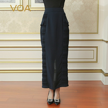 VOA Heavy Silk Pencil Skirts High Waist Women Maxi Long Skirt Simple Deep Cyan Sexy Slim Plus Size Brief Solid Spring CLH00201
