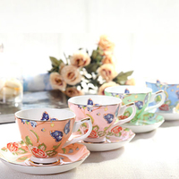 Creative Flower Ceramic Tray Office Tea Coffee Cup Sets Sauce Bone Porcelain Cup Saucer Kahve Fincanlar Chinese Pottery 50N5029