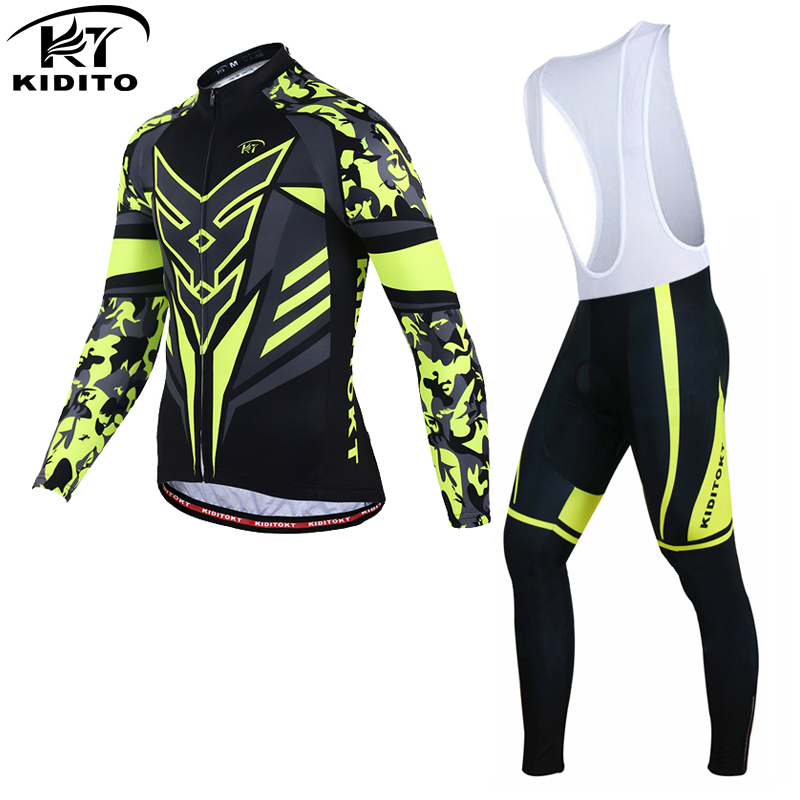 KIDITOKT Spring Cycling Jerseys Set Bike Clothes Long Sleeve Cycling Clothing Bicycle Wear MTB Bike Jersey Ropa Maillot Ciclismo