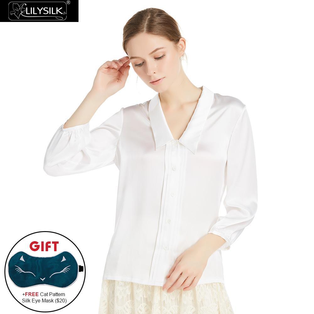 Blusa para Las Mujeres de Seda LILYSILK 22 MM V Cuello Señoras Del Diseñador de