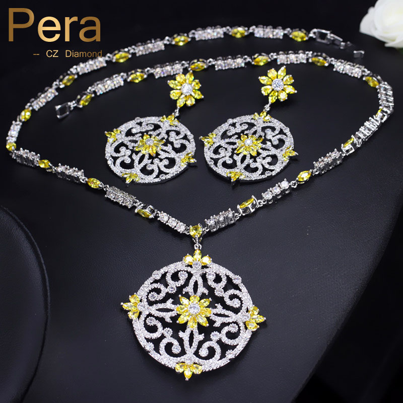 Pera Newest Big Vintage Hollow Out Design Yellow Cubic Zircon Round Drop Pendant Necklace And Earrings Set For Luxury Women J199 цена 2017