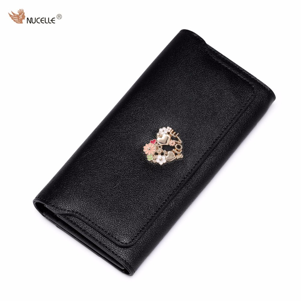 NUCELLE Brand New Design Fashion Heart Flowers Cow Leather Lady Women Long Wallets Cards Holder Gift For Girl  цены