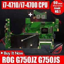 купить Send board+i7-4710/i7-4700 CPU G750JZ G750JS Laptop motherboard For Asus G750JZ G750J Mainboard 100% tested GTX870M GTX880M card онлайн