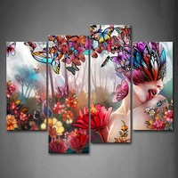 4 Panels Unframed Wall Art Pictures Flower Butterfly Woman Forest Canvas PrintAbstract Posters No Frames For Living Room