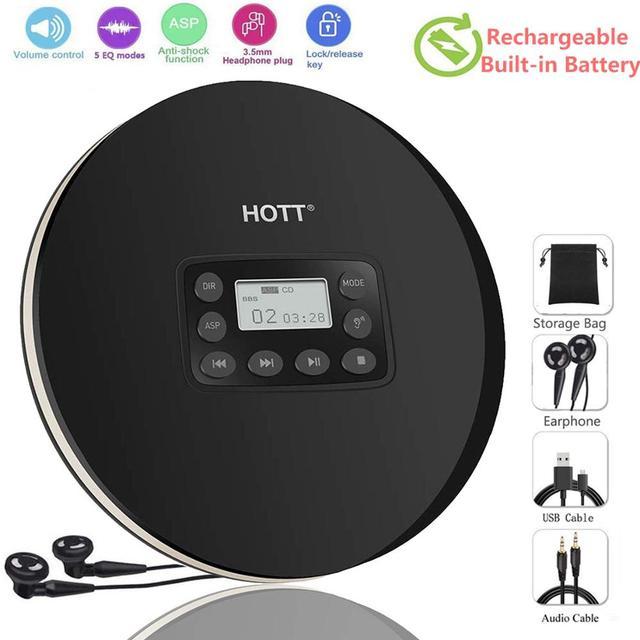 HOTT Mini Portáteis CD Player Recarregável Bateria Embutida, Compact Disc Player Pessoal com Display LCD, função Anti Choque