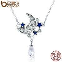 BAMOER Hot Sale Genuine 925 Sterling Silver Moon Star Shimmering Crystal Pendant Necklaces For Women Fine