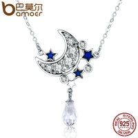 BAMOER Hot Sale Genuine 925 Sterling Silver Moon Star Shimmering Crystal Pendant Necklaces For Women Fine