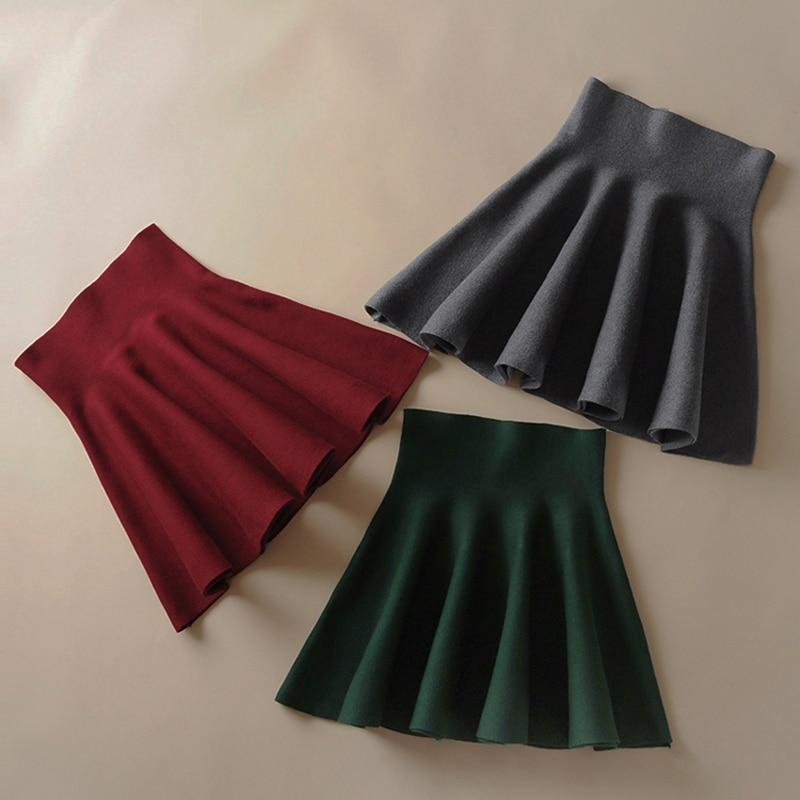 2018 las nuevas mujeres de la versión coreana Falda plisada falda Umbrella la parte inferior de la altura de la cintura Falda de punto otoño falda