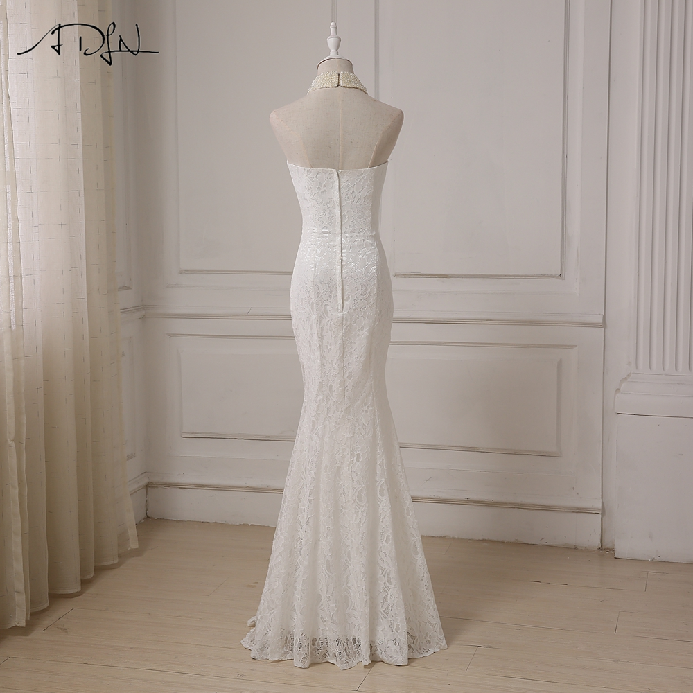 Halter Sleeveless Pearls Beading Mermaid Lace Wedding Dress