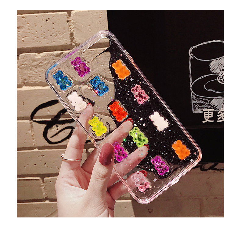 Cute 3D Candy Bear Transparent Glitter Cover for iPhone X XS Max XR Soft  Silicon Case Fundas for iPhone 8 7 6S Plus Capa Hoesjes-in Fitted Cases  from ... 343eb7c61ea6