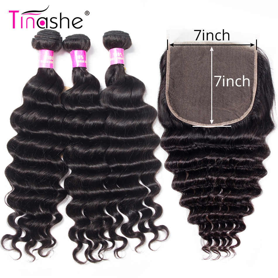 Tinashe Hair 7x7 Lace Closure With Closure Loose Deep Wave Bundles With Closure Remy Brazilian Human Hair 3 Bundles With Closure