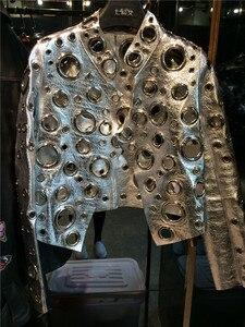Image 2 - 레이디 정품 양 가죽 짧은 재킷 100% 진짜 양 가죽 코트