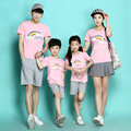 Family Matching Clothes Blue Rainbow Quality Couple T Shirt Cartoon Male Female 4xl Summer Short Sleeves Dad Mom T-Shirts hot