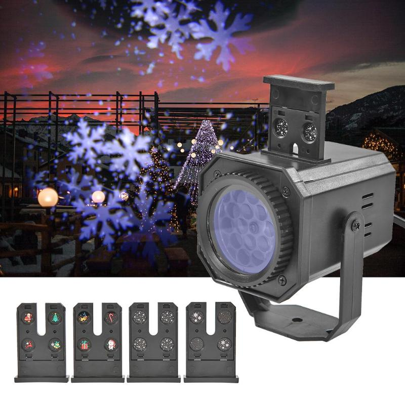 4 Style Winter Pattern LED Stage Light Laser Projector Colorful Rotating Projection Lamp For KTV Bar DJ Disco