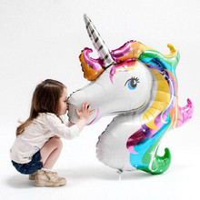 1Pcs Giant Unicorn Balloons Inflatable Rainbow Animal Balloon Kids Baby Shower Toys Unicorn Birthday Party Decoration Supplies(China)