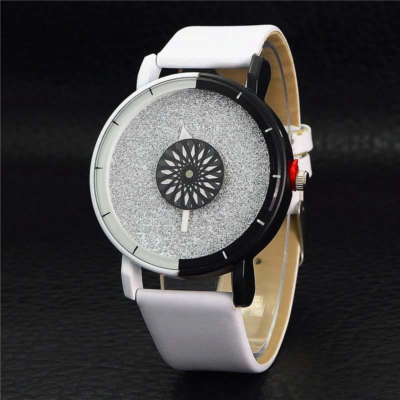 Pulsera única para mujer Reloj Simple Casual Color doble Flash Dial Reloj analógico PU Correa de cuero Reloj Reloj de negocios LL @ 17