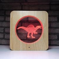 Creative Wooden Dinosaur LED Night Light 7 Color Change Desk Light Action Figures Boys Girls Birthday Toys #487
