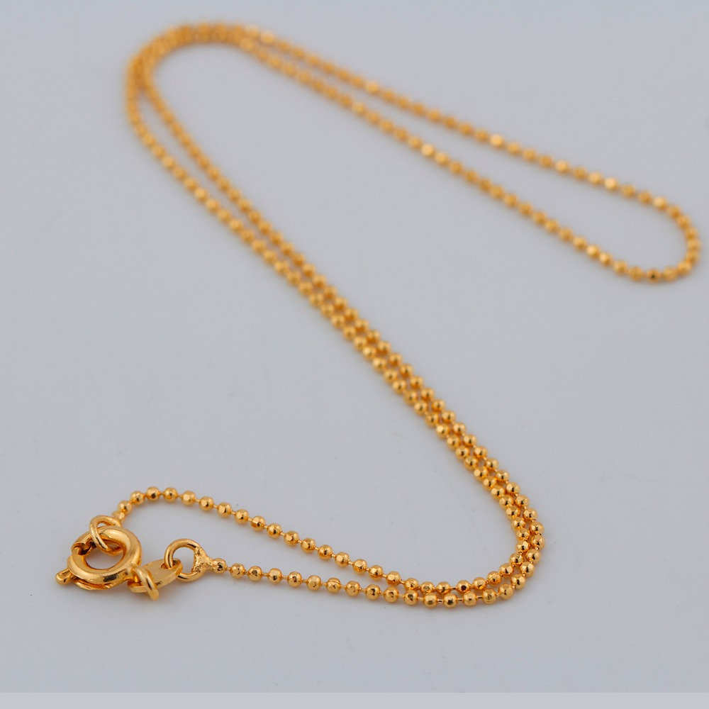Simple Style Yellow Gold Color Beads Link Chain Tiny Short Choker ...