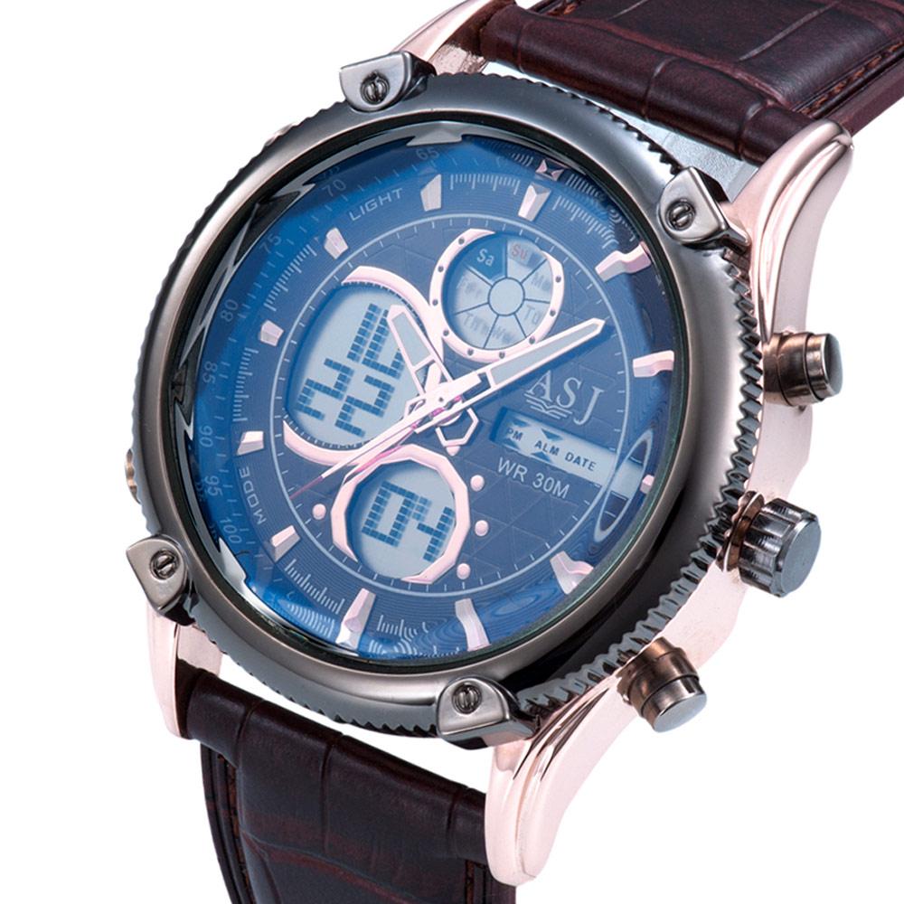 Prix pour Asj top marque de mode conception numérique led homme mâle horloge en cuir cool sport militaire de natation poignet quartz cadeau d'affaires montre