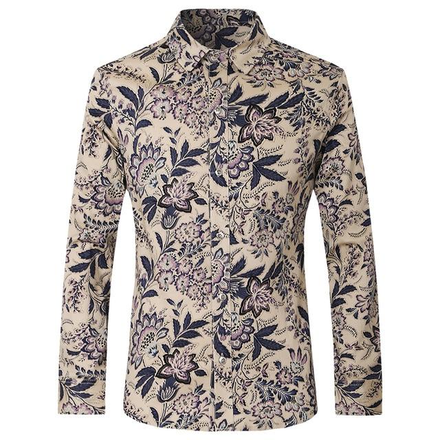 286b3d109fd7a Loldeal hombres 2018 última moda para hombre Camisas Slim Fit Mens Camisa  de impresión Floral Casual