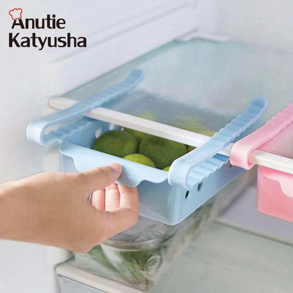 Слайд холодильник Пластик коробка для хранения Грабли морозильник Еда контейнер выдвижной ящик организатор Коробки Space Saver полки контейнер для хранения