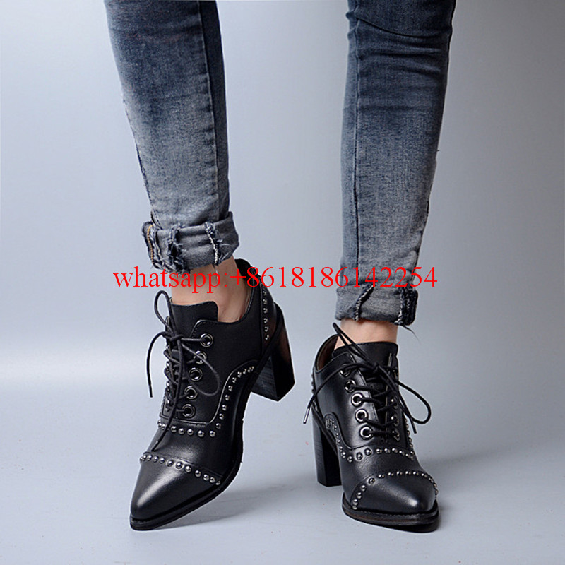 Handsome British Style Women's Leather Boots High-heeled Ankle Boots Martin Pointed-toe Boots Short Top Rivet Boots Female