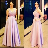 Pink Evening Dresses 2017 Beaded Pearls Celebrity Formal Evening Gowns For Wedding Party Prom Dresses Mother Daughter Gowns