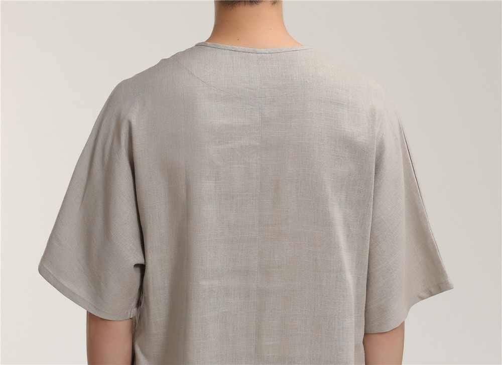 上海ストーリー男性の中国伝統的なトップカンフーティー用男唐スーツシャツoラウンド中国服