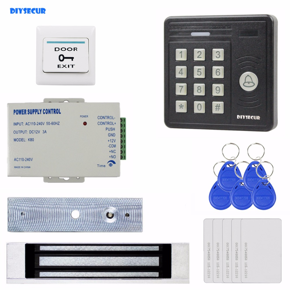 DIYSECUR Waterproof 125KHz Rfid Card Reader Password Keypad + 180kg Magnetic Lock Access Control Security Kit KS159 original access control card reader without keypad smart card reader 125khz rfid card reader door access reader manufacture