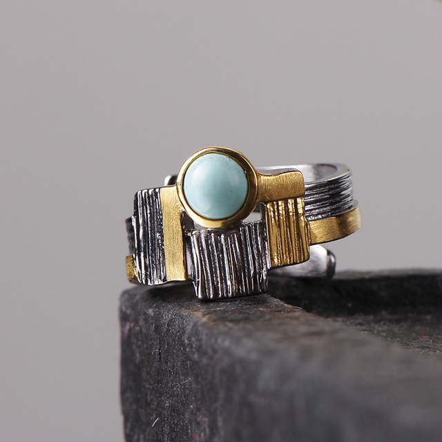 Vintage Thai Silver Jewelry Custom Natural Ore Area Turquoise Handmade S925 Sterling Silver  Female Simple Inlay Open Ended Ring