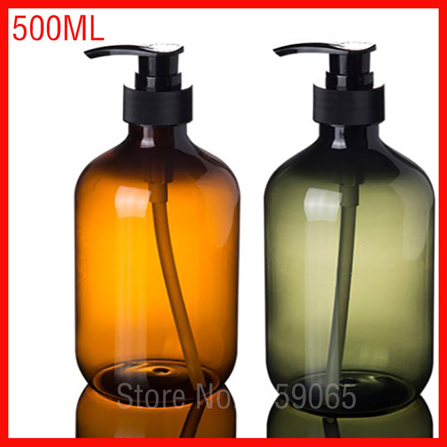500ml Pet Green Y Plastic Pump Bottle Shower Gel Shampoo Cosmetic Container Hair Conditioner Body Milk Packaging