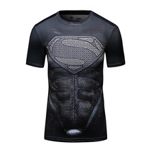 Men's Superheroes Superman Classic S Logo Shield Navy T-Shirt Men's Shaper Tights Sublimation Gym Trainning & Exercise T-shirts)