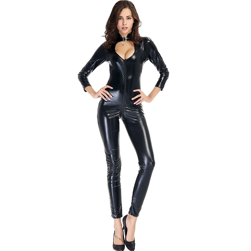 Wholesale Wetlook Women Tight Jumpsuit Sexy Black Hollow Bust Vinyl Leather Long Sleeve Zip Smooth Catsuit Jumpsuits & Rompers