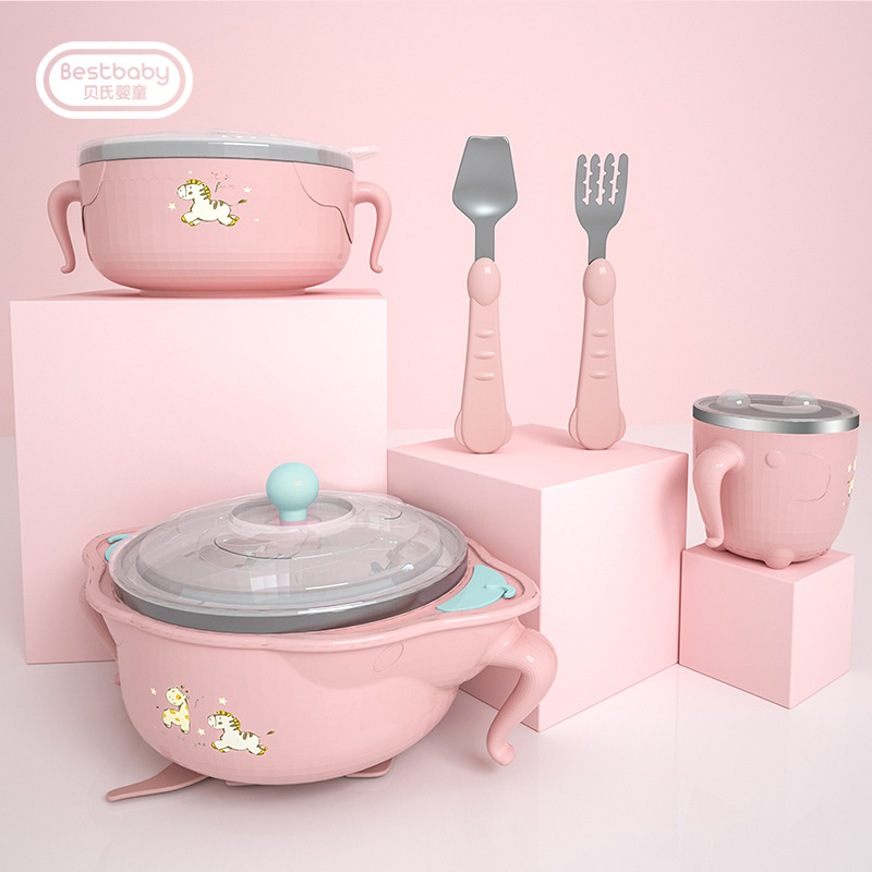 Baby Dish children kids Tableware Set Stainless Steel Insulation Strong Suction Bowl Spoon Fork Food Baby Feeding Bowls plate