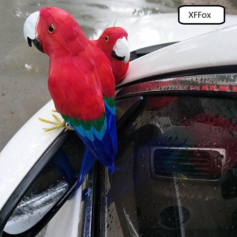 Um pedaço da vida real modelo papagaio vermelho espuma & pena simulação papagaio pássaro presente sobre 30 cm xf0127
