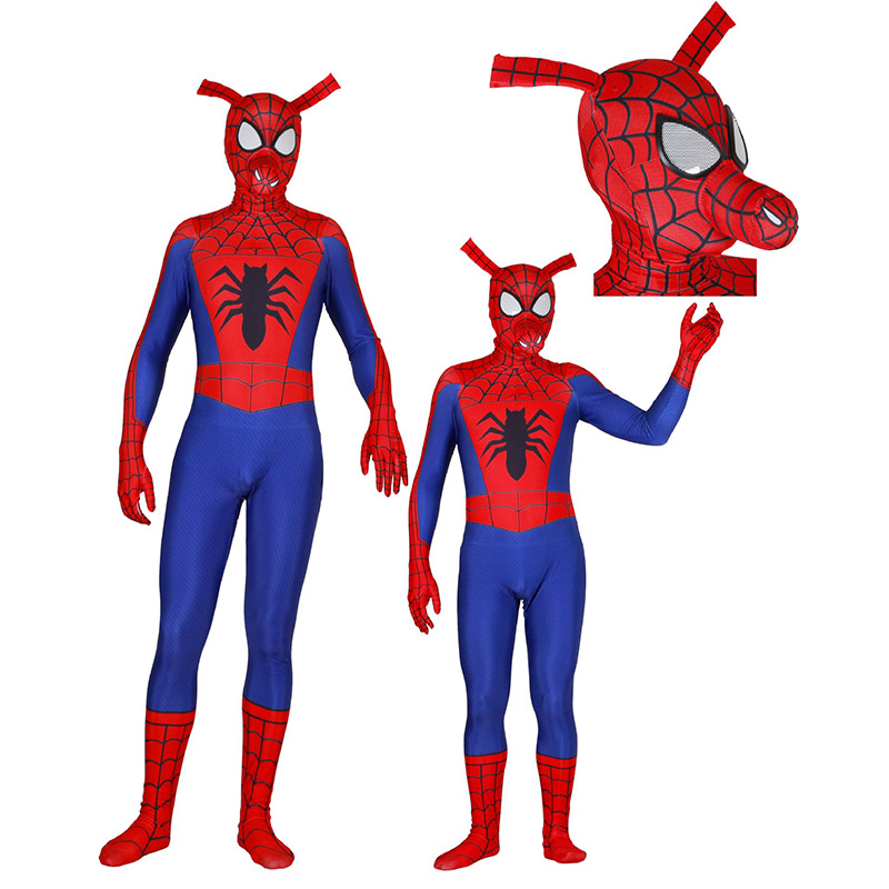Adult Kids Lycra 3D Print Spiderman Into the Spider Verse Spider-Ham Zentai Cosplay Costumes for Man Superhero Bodysuit Costume