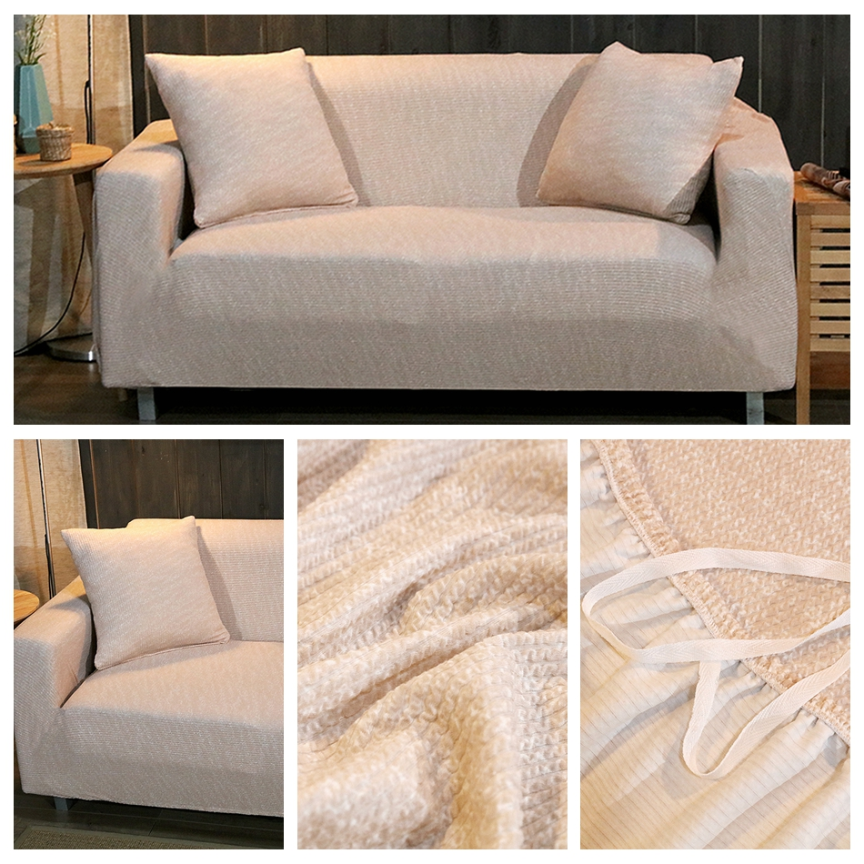 beige universal knitted stretch couch sofa slipcover for. Black Bedroom Furniture Sets. Home Design Ideas