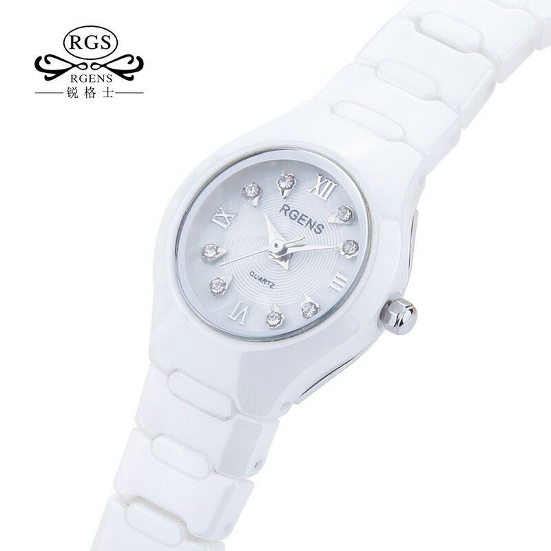 Nouveau femmes montres étanches casual femme montres blanc 100% en céramique quartz diamant calendrier dames horloges RGENS marque