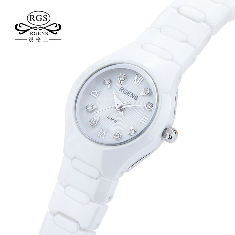 New Womens Watches Waterproof Casual Woman Wristwatches White 100% Ceramic Quartz Diamond Calendar Ladies Clocks RGENS Brand