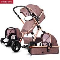 Быстрая доставка последние 3 в 1 Детские коляски стандарт ЕС Новорожденные каретки 0 36 месяцев Европа Детские коляски золото рама Коляски