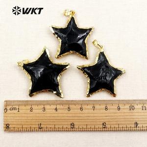 Image 5 - WT P1323 Nova Chegada Linda Estrela Preto Obsidian Pingentes Fazer Jóias para As Mulheres Colares de Metal Galvanizado