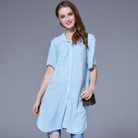 YUS Blouse Long Shirt Casual Cotton Blue Striped Short Sleeve Shirt Plus Size 3XL 4XL Turn