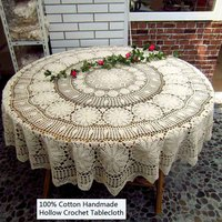 Pastoral Round 100% Cotton Handmade Crochet Tablecloth for Weddings/Kitchen/Dining Table/Multi function Decoration Table Covers