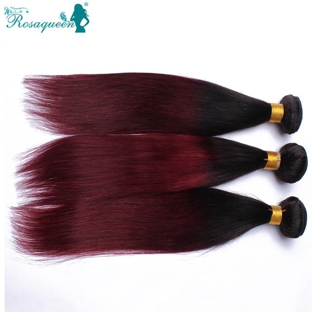 Ombre Hair Extensions Brazilian Virgin Hair Straight 1B/99J 3 Pcs/Lot Human Hair Weave Bundles Brazilian Straight Burgundy Hair