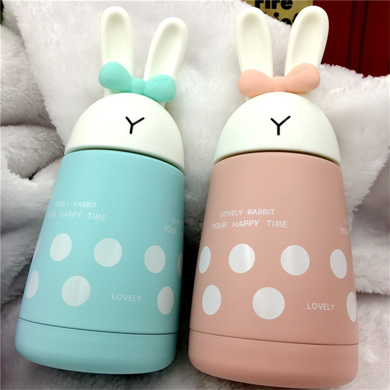 Baby feeding Cup Stainless Steel Cute Rabbit Baby Feeding Cup Girl Insulated Leak-proof Milk Water feeding cup