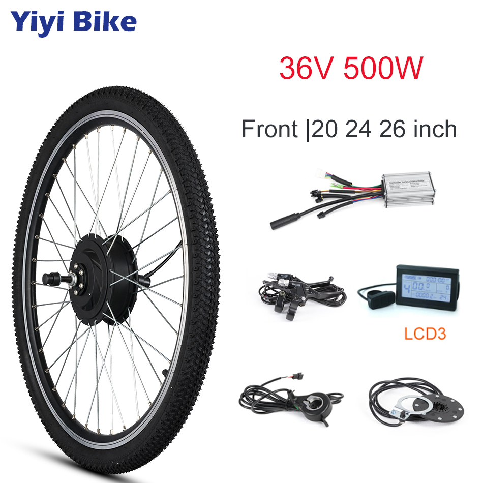 Electric Bike Conversion Kit Front Motor Wheel 500W 36V Brushless Non gear Hub Motor Engine KT LCD3 LCD5 20 24 26 inch With Tire