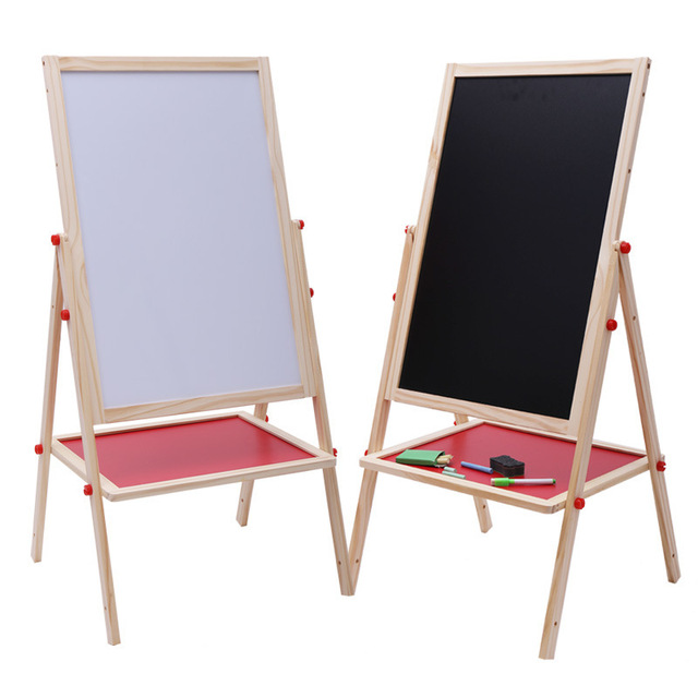 1PC Early Childhood Education Color Magnetic Drawing Board Easel Writing Blackboard Bracket Lifting Wooden Large Toys